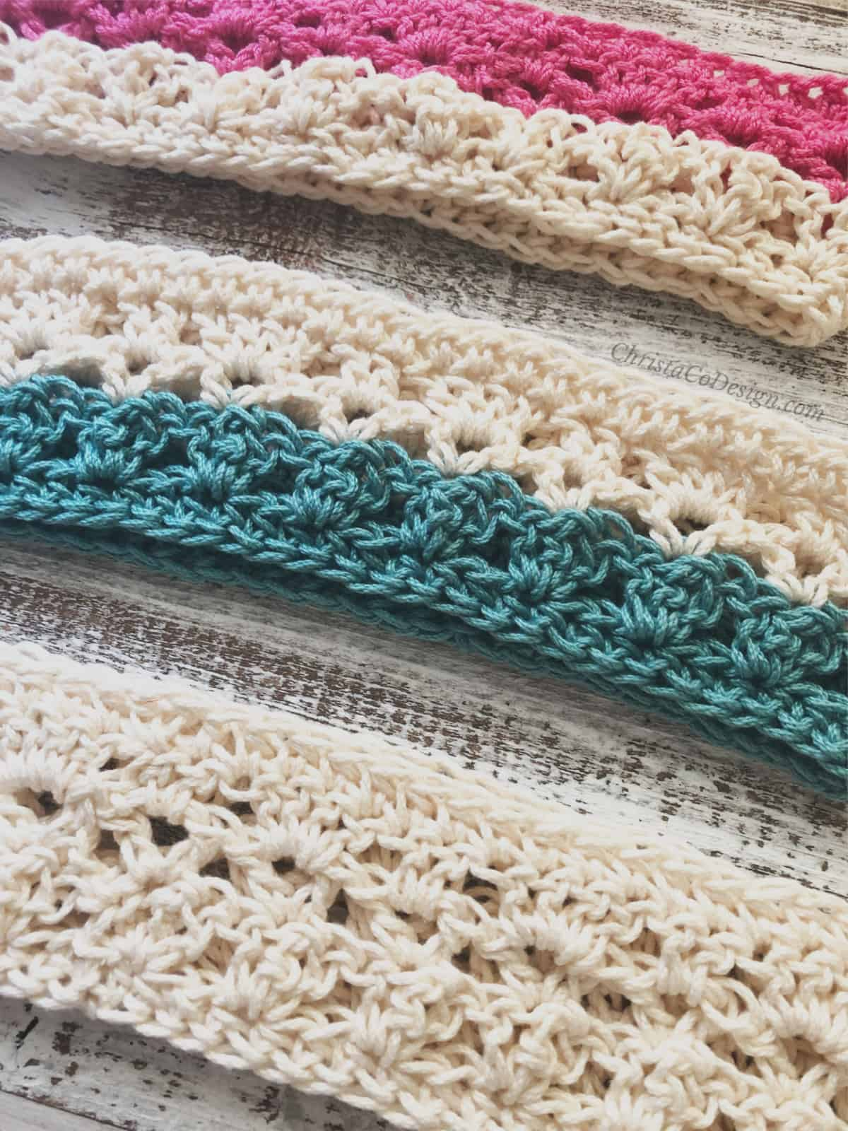 picture of three crochet headbands in cream, pink and teal