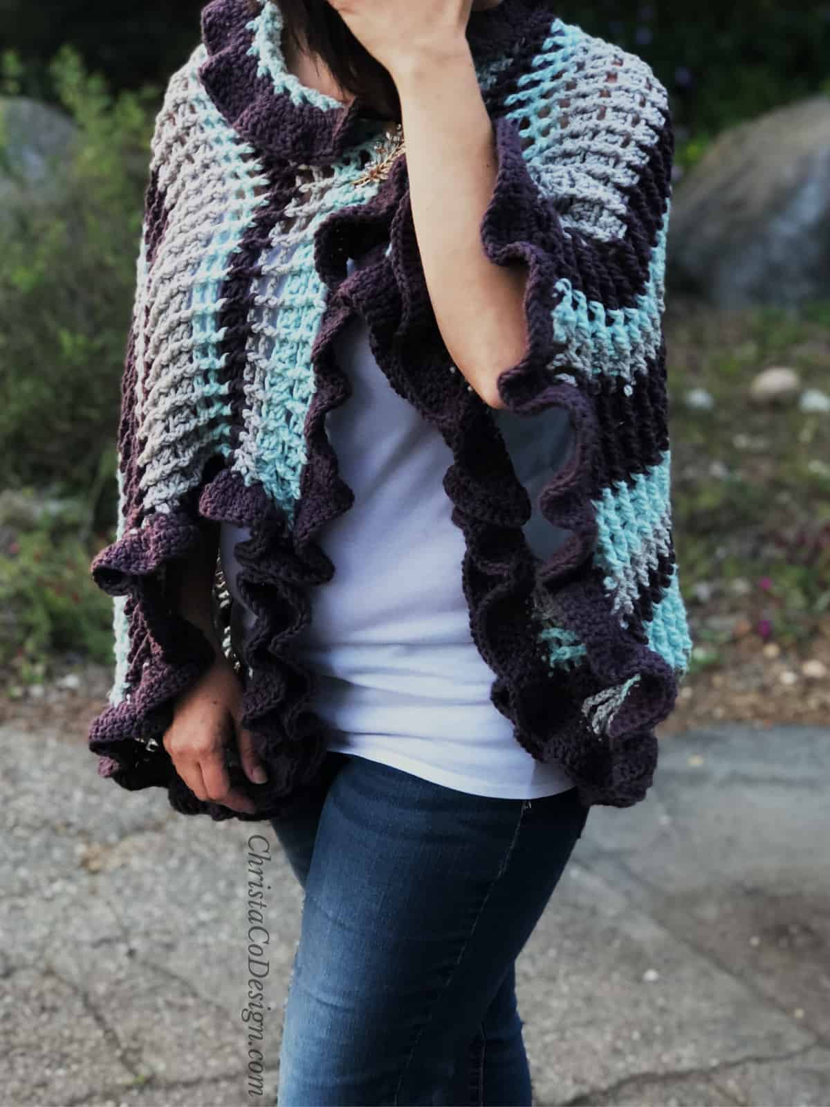 picture of woman in buttoned crochet wrap ruffle sleeve