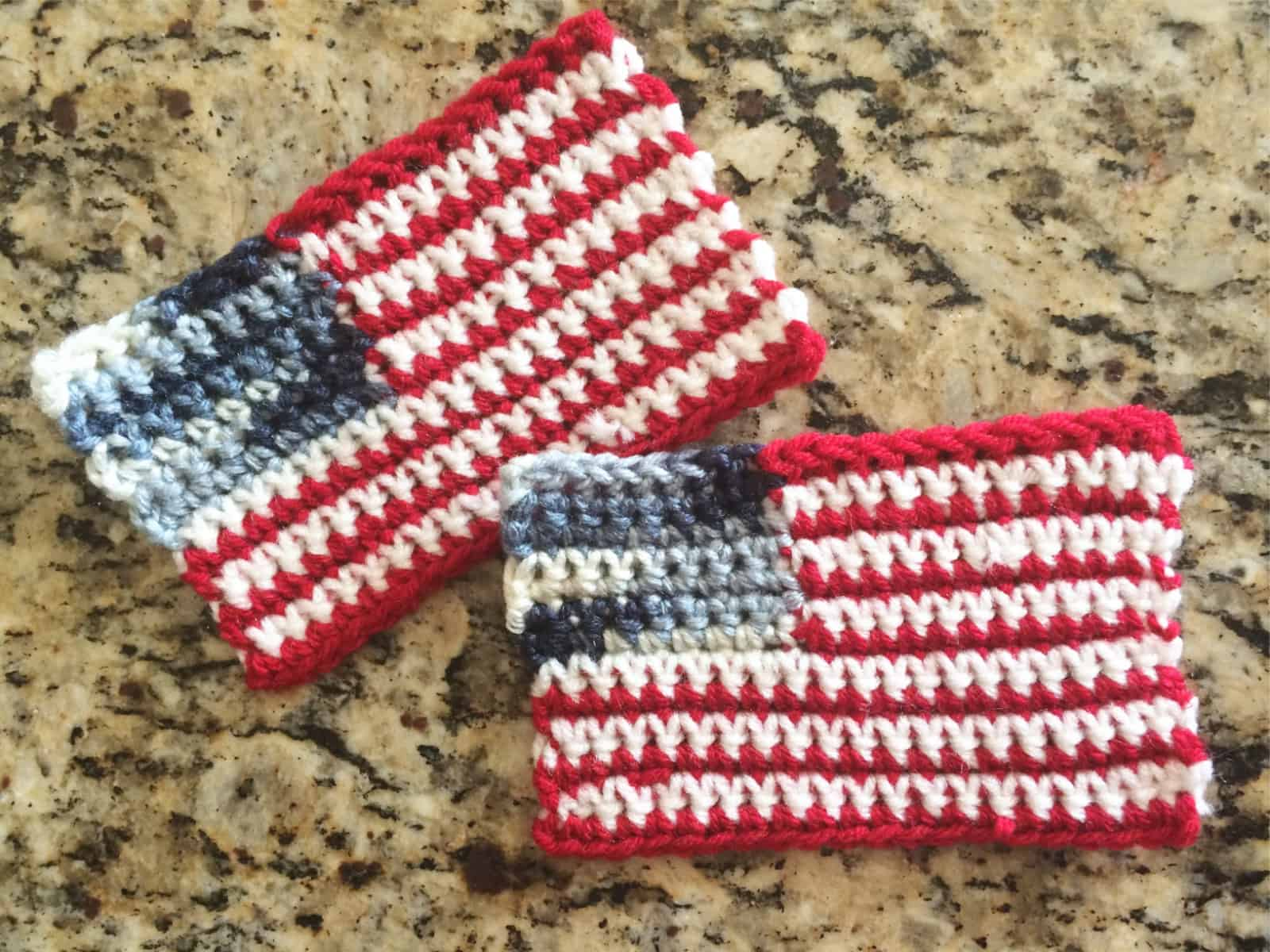 Crochet flag flat after blocking.