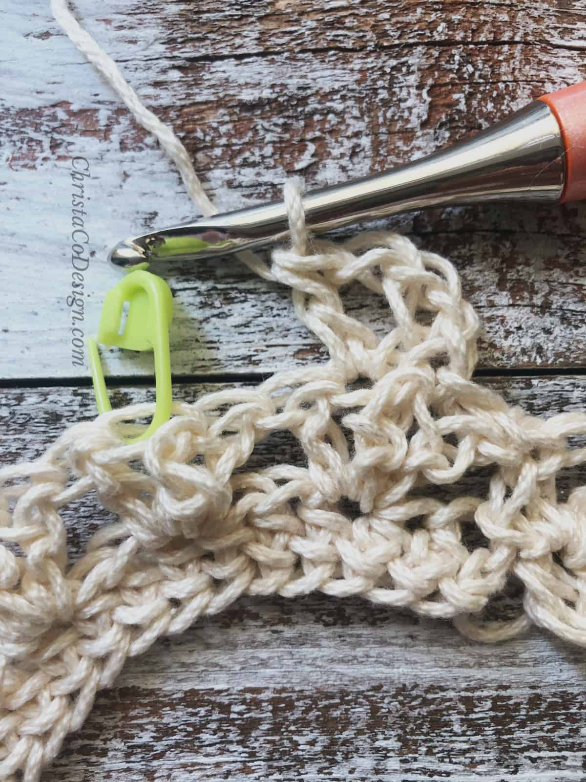 picture of row 3 first v-stitch crochet headband