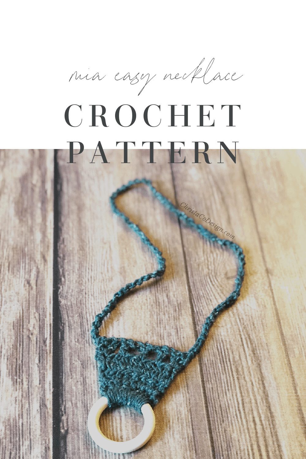 picture of Mia easy crochet necklace free pattern pin image
