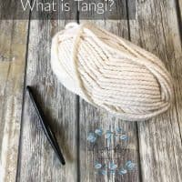 picture of cream yarn ball and wood hook for Tangi video