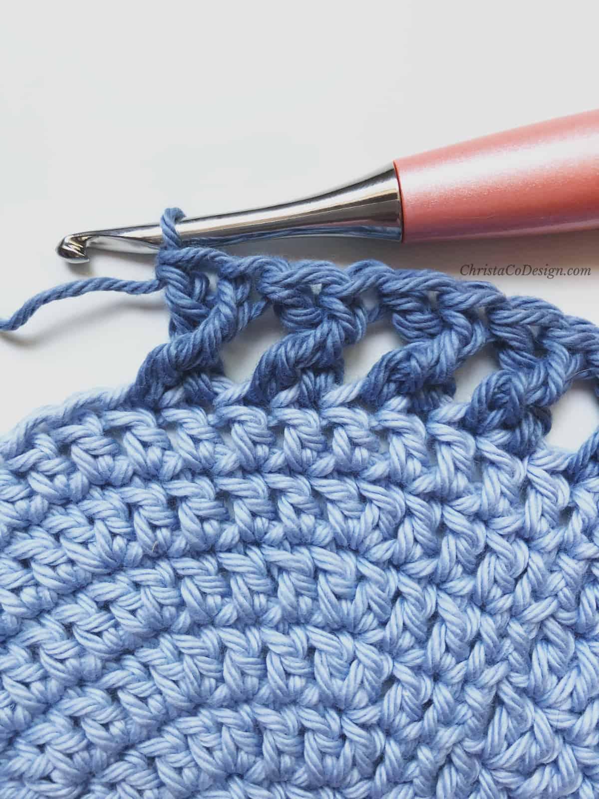 picture of x stitch in blue