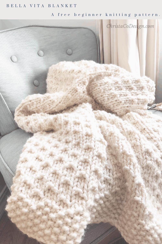 Bella vita blanket easy knit blanket pattern great for beginning knitters.