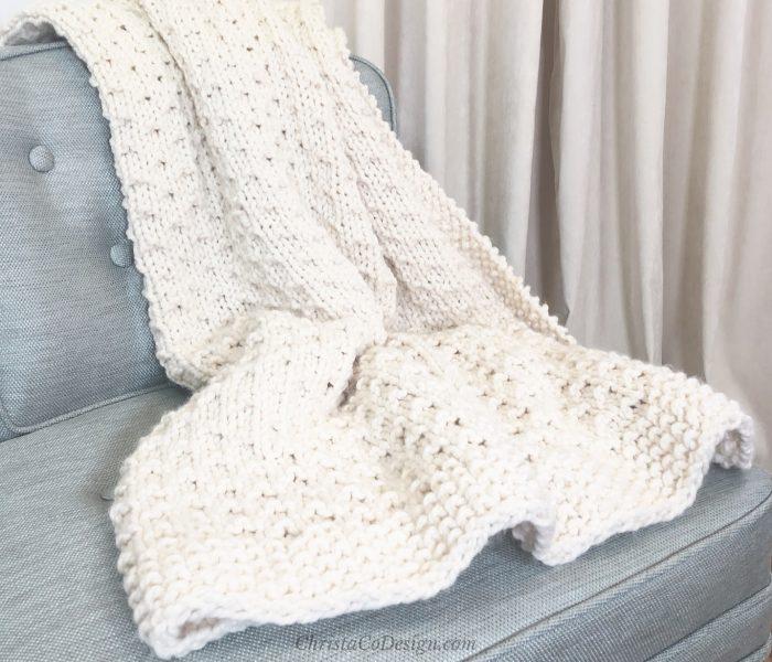 Bella Vita Easy Knit Blanket Beginner Knitting Pattern