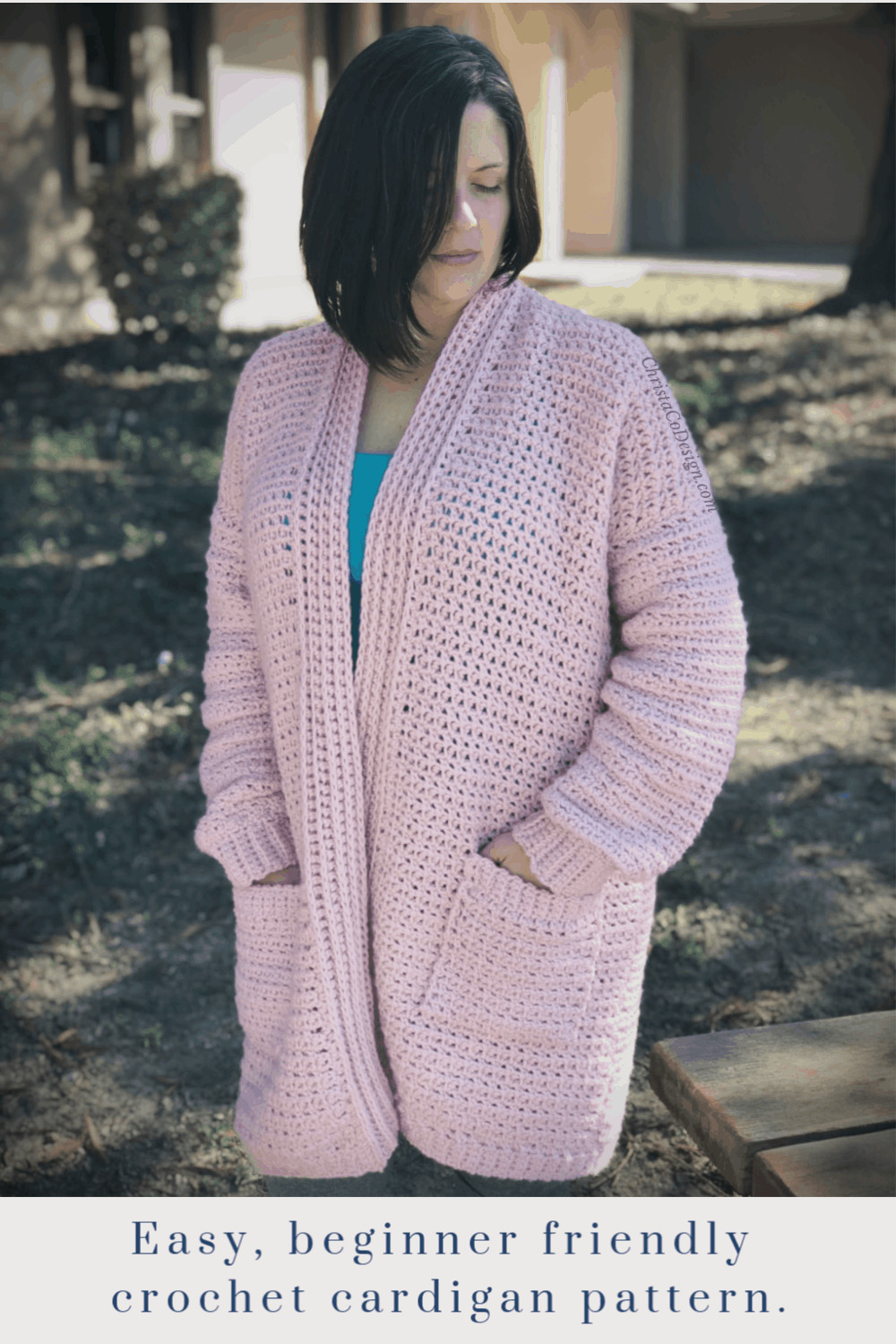 picture of woman in pink cozy crochet cardigan pin with text