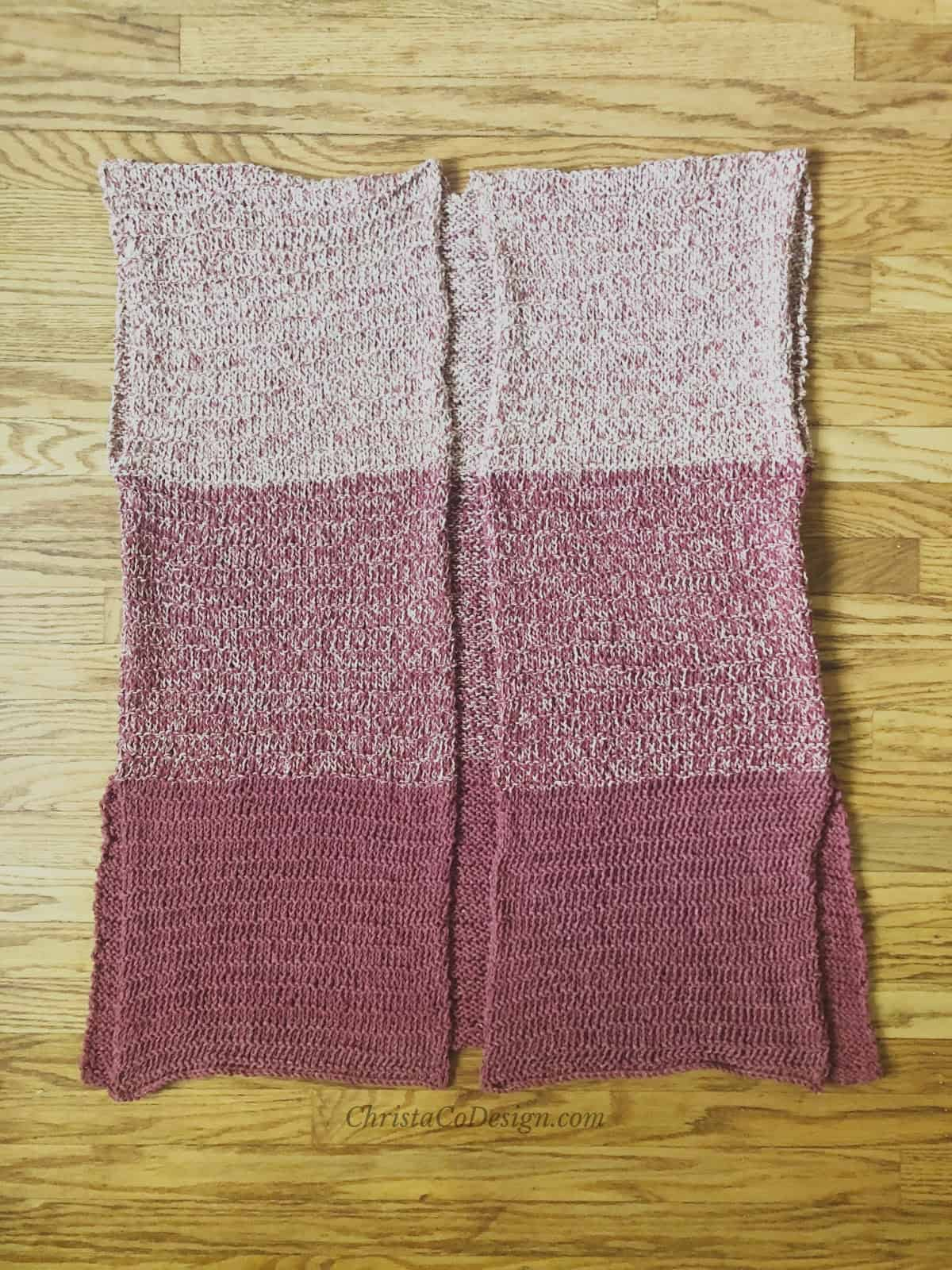 picture of seamed Lana knit cardigan flat in maroon and white ombre stripes