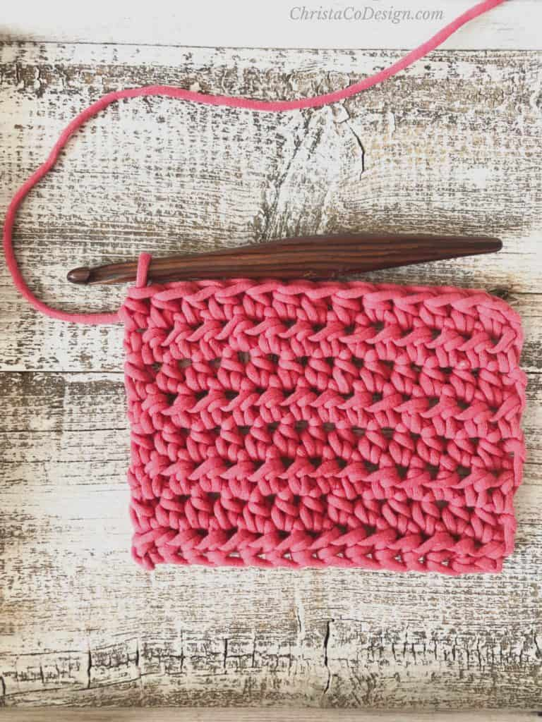 picture of half double crochet swatch in red