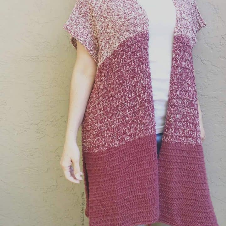 picture of woman in maroon ombre long knit cardigan