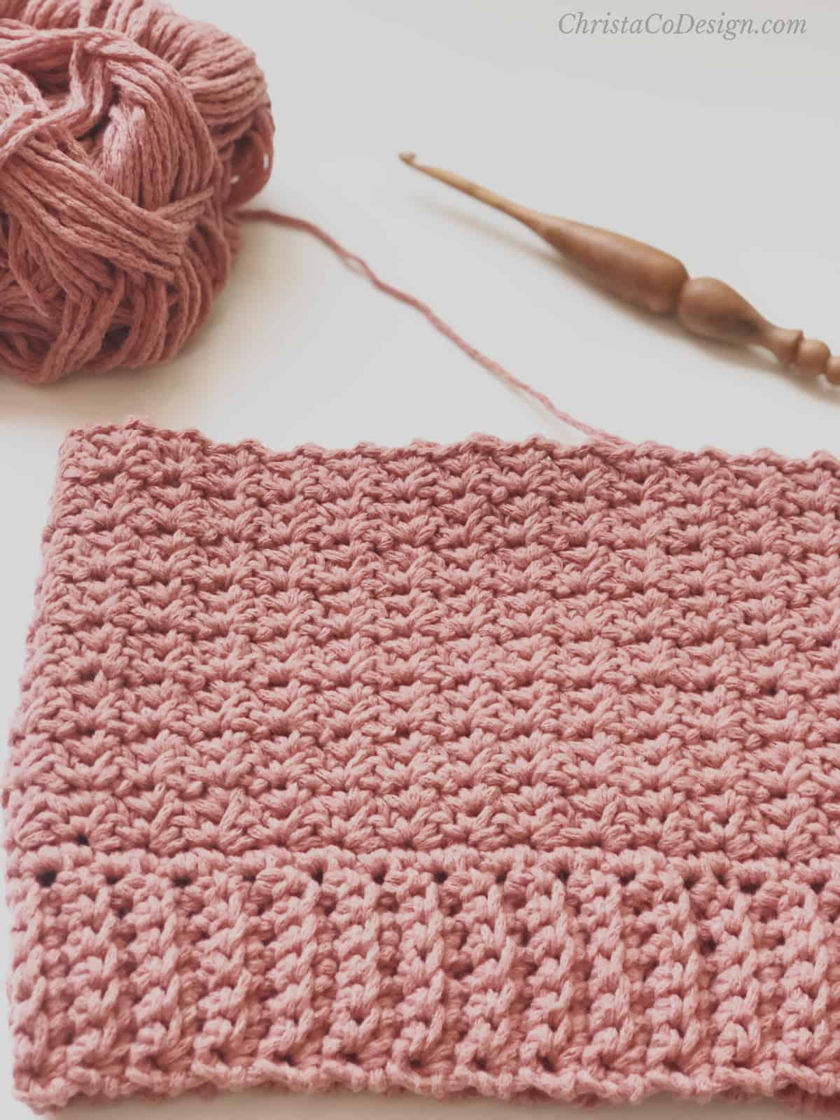 picture of progress bottom up crochet hat