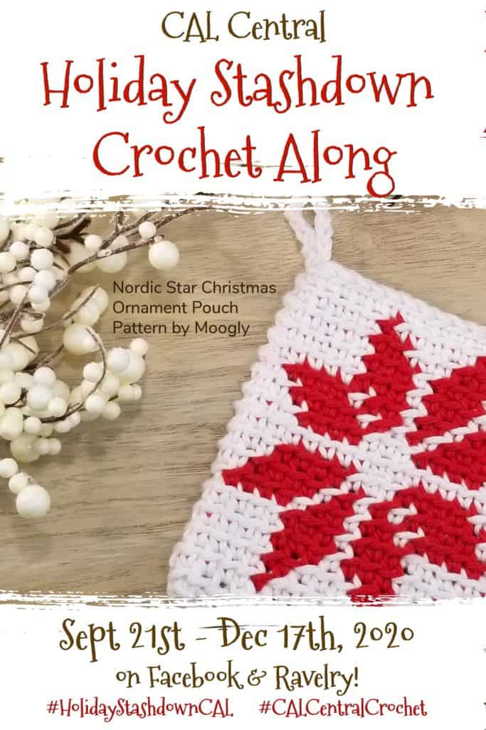picture of crochet holiday stash down crochet along pin image red star with text