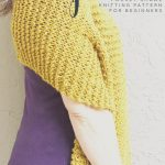 picture of honey colored knit pocket shawl pattern