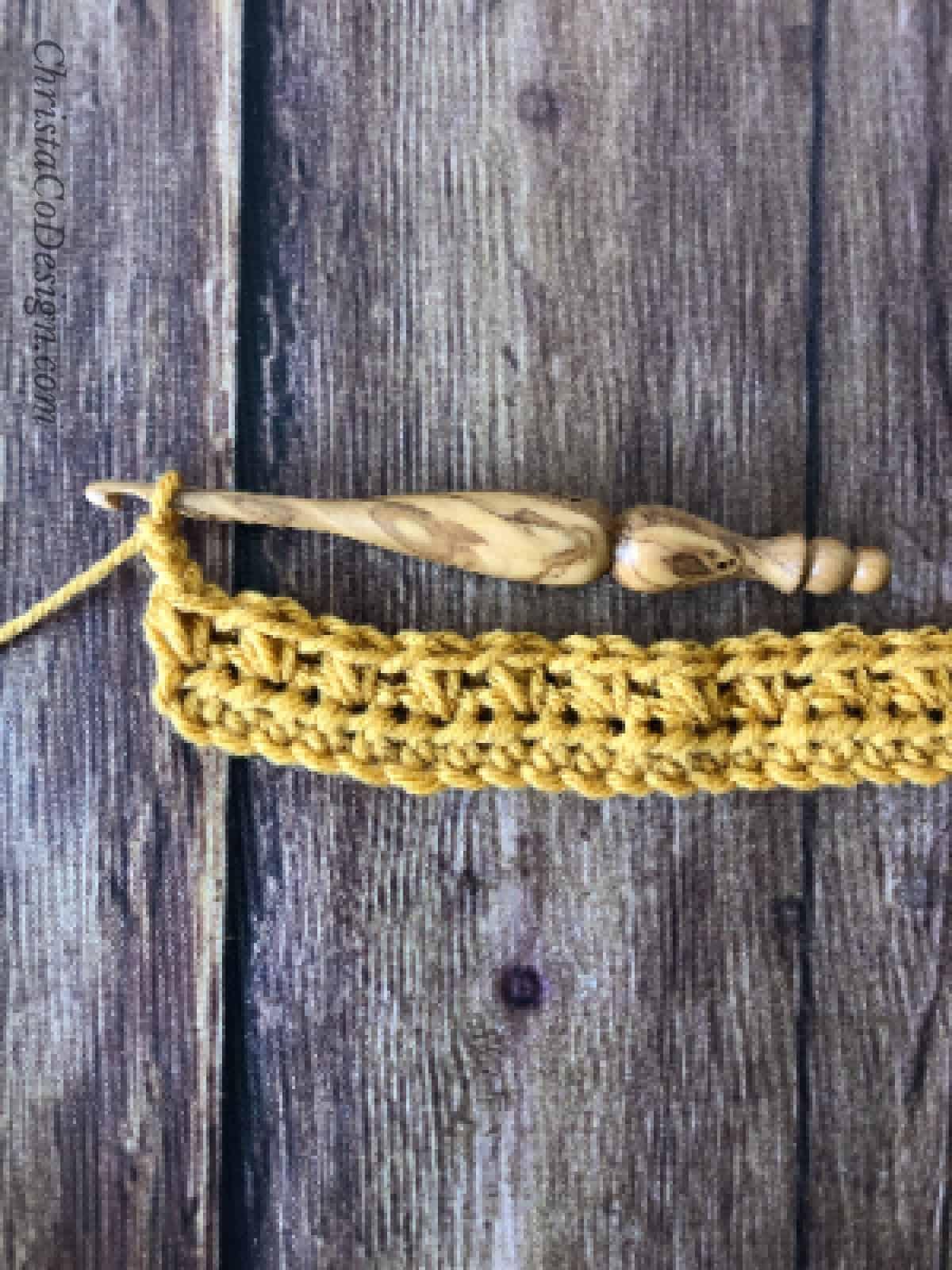 picture of crochet mini bean stitch row
