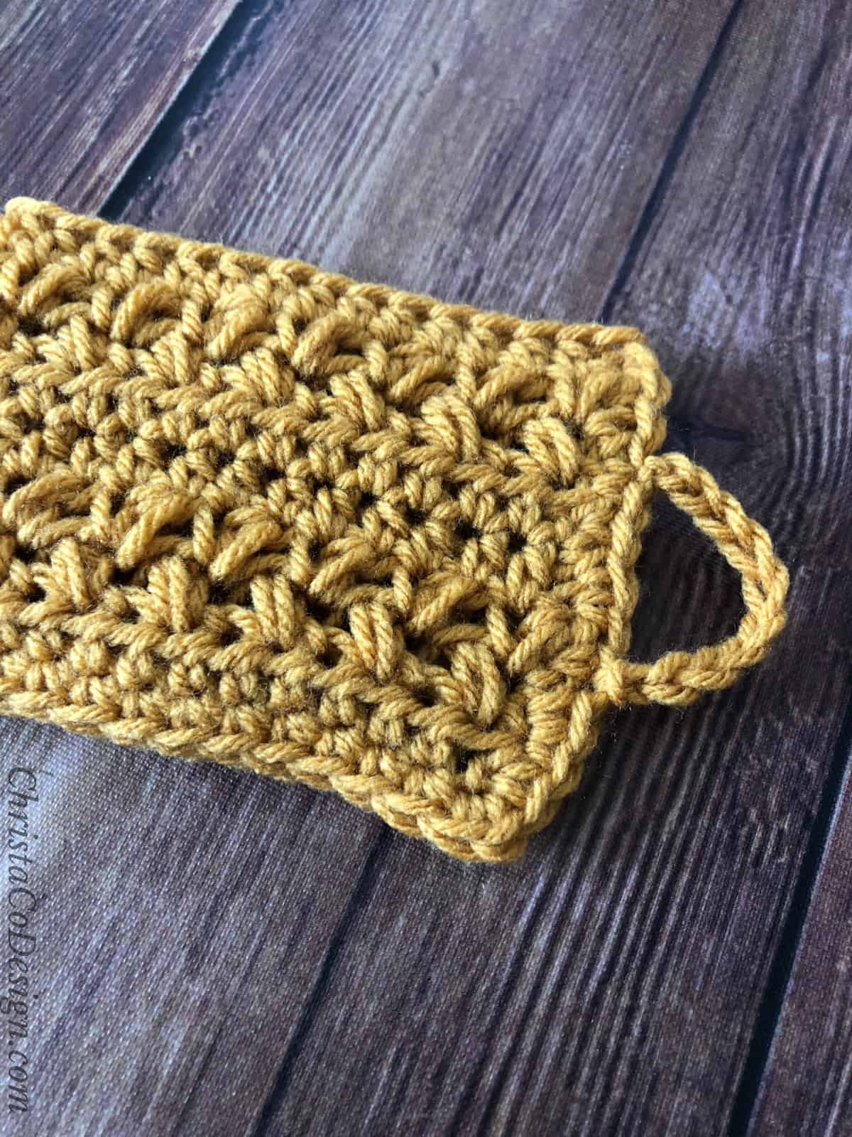 picture of button loop for mug cozy crochet pattern