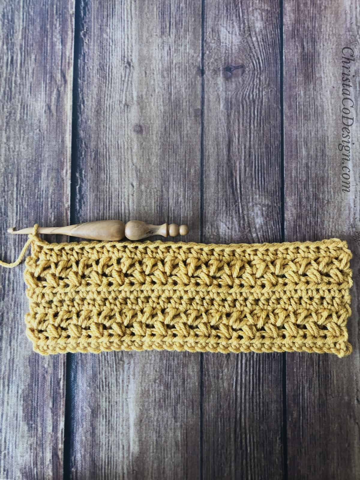 picture of mustard colored crochet cup cozy pattern