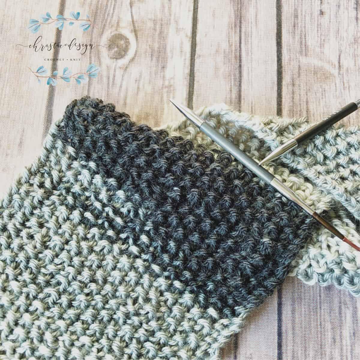 knit seed stitch scarf free pattern black and grey