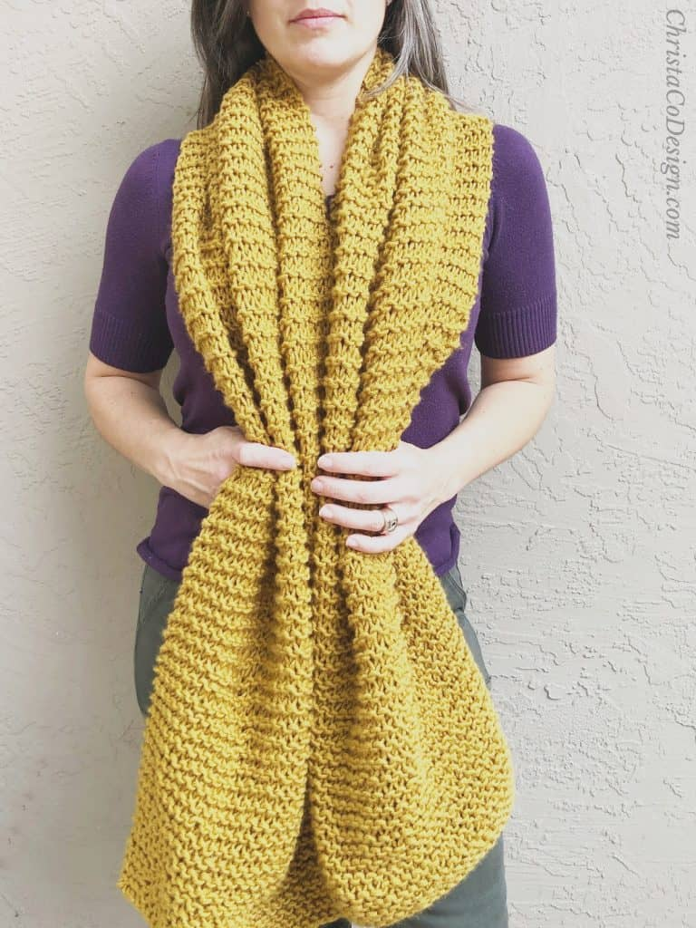 picture of easy beginner knit super scarf in golden color