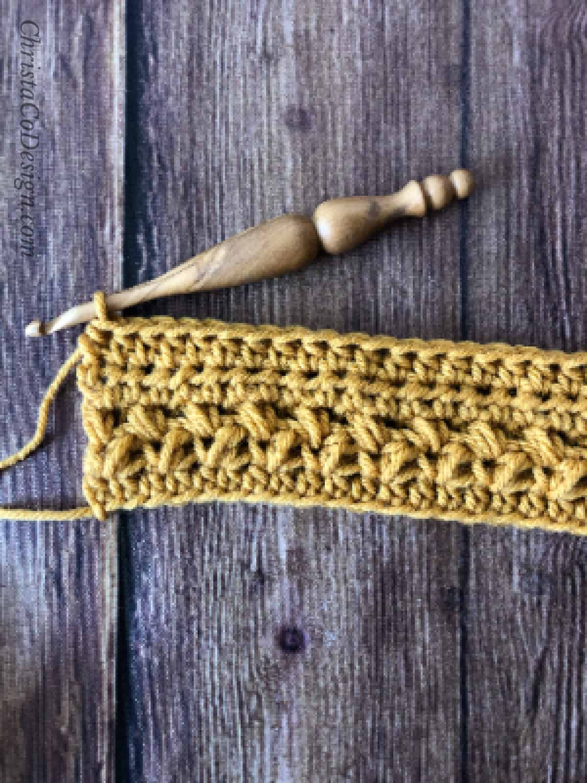 picture of mustard yellow crochet cup cozy tutorial