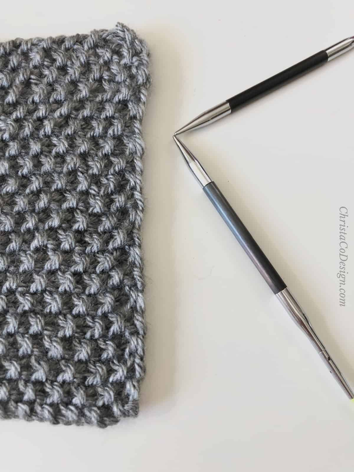 picture of seed stitch bind off in pattern