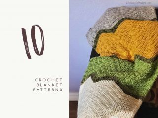 picture of crochet chevron blanket with text 10 crochet blankets