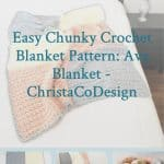 picture of pin image with text easy chunky crochet blanket pattern free