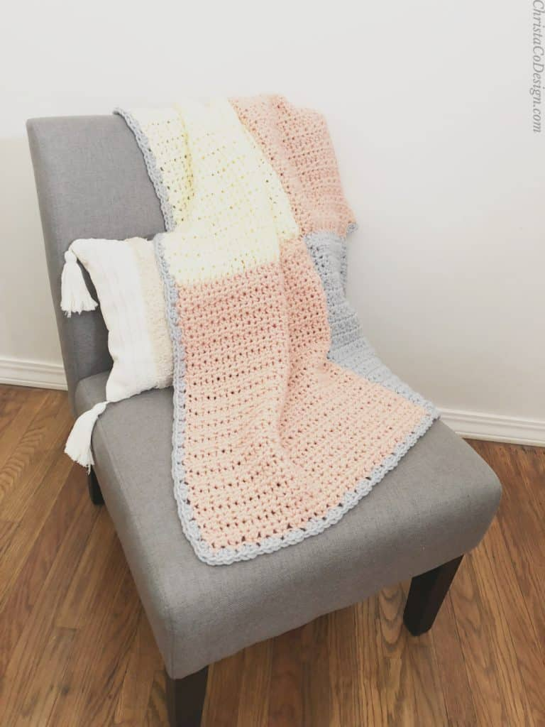 picture of crochet blanket easy pink and white and grey squares on chair free blanket pattern