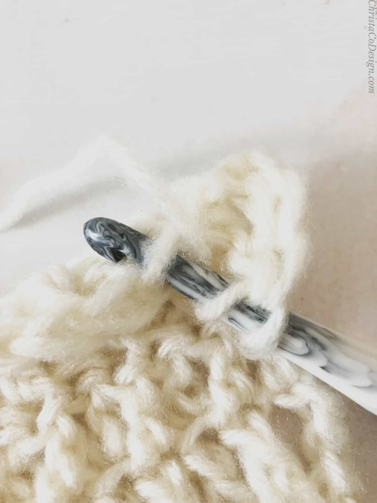 picture of inserting crochet hook into the back loop