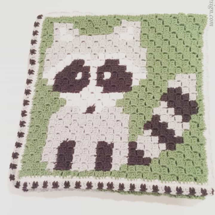 picture of finished raccoon c2c crochet blanket