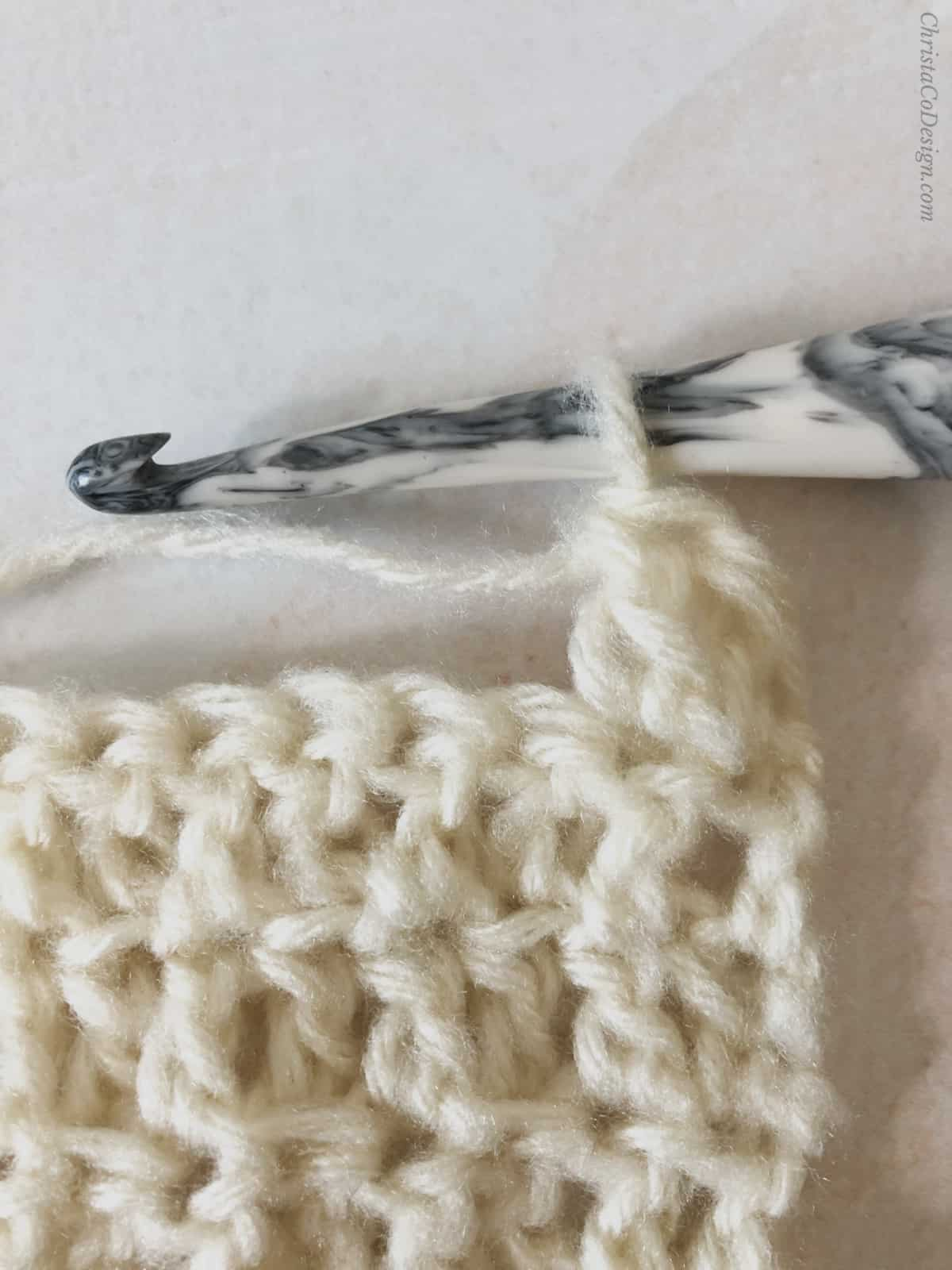 picture of flo dc double crochet into front loop only tutorial