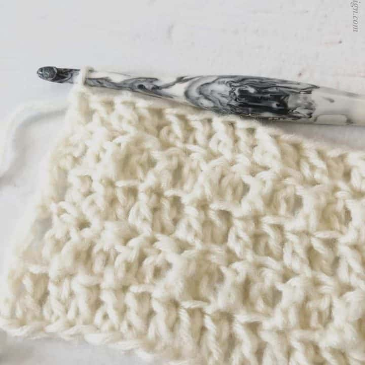 picture of flo dc and blo dc crochet stitches