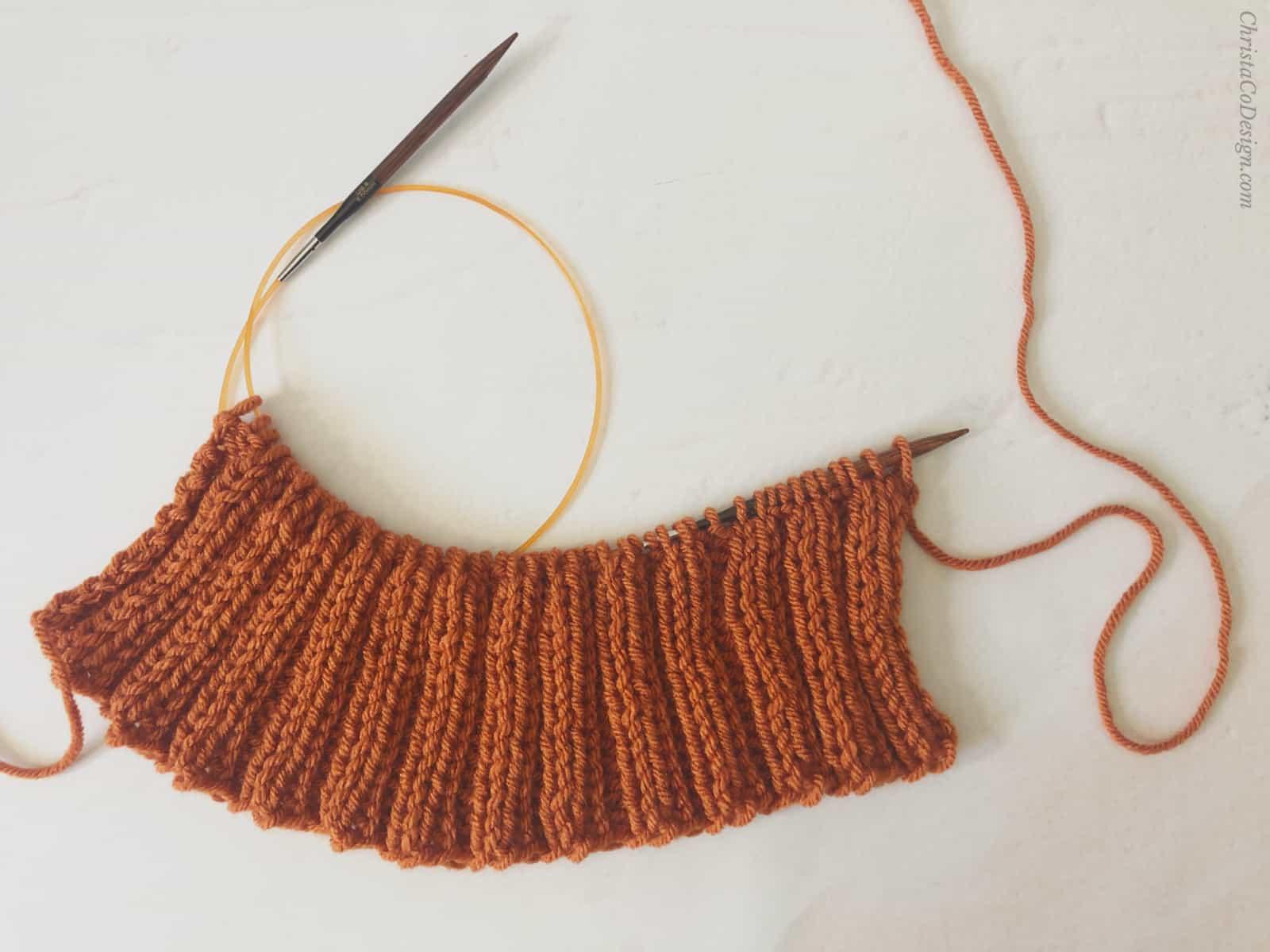 picture of knitting ribbing flat pumpkin pattern free