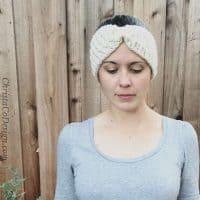 picture of woman wearing crochet earwarmer pattern