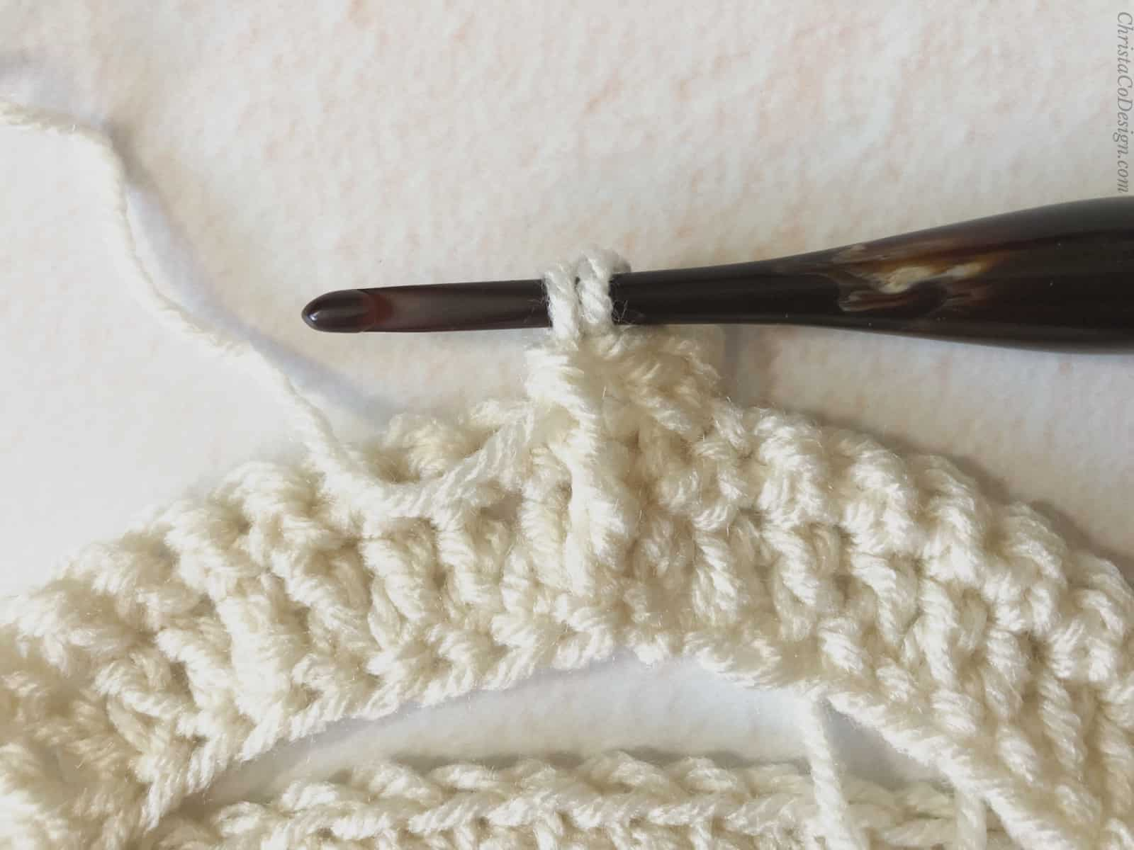 picture of crochet treble stitch in front post tutorial