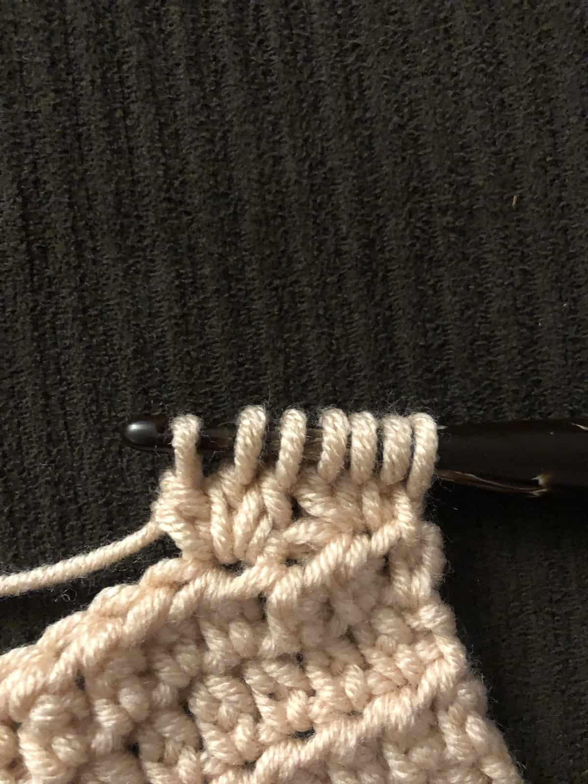 picture of 7 loops on hook for Tc stitch