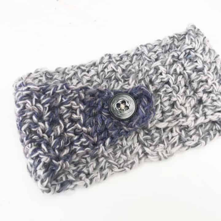 picture of cozy blue crochet ear warmer child size