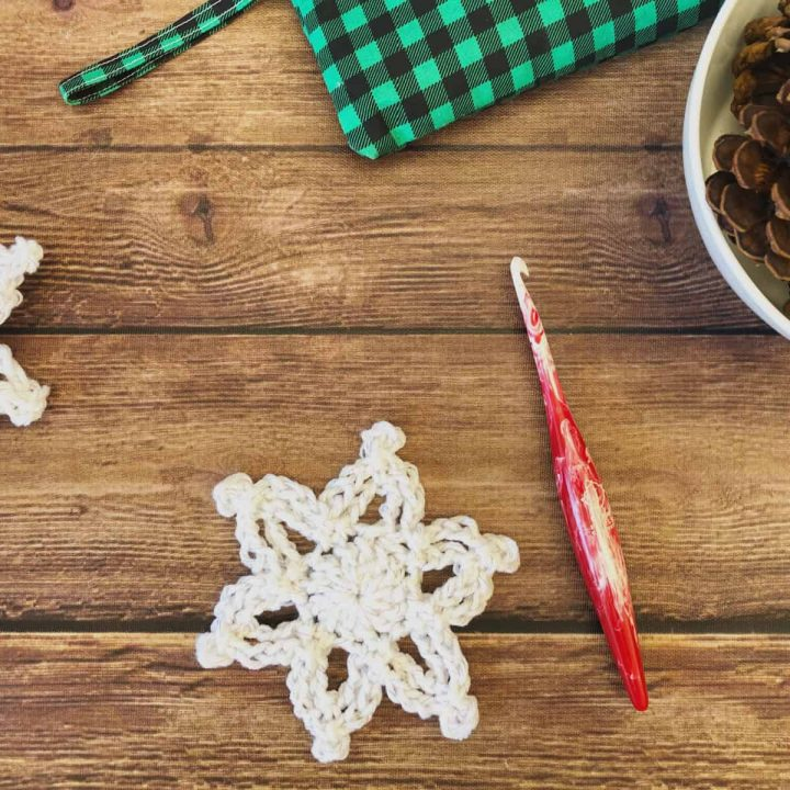 picture of sparkly crochet snowflake free pattern