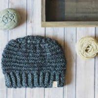 picture of flat black beanie crochet mens free pattern
