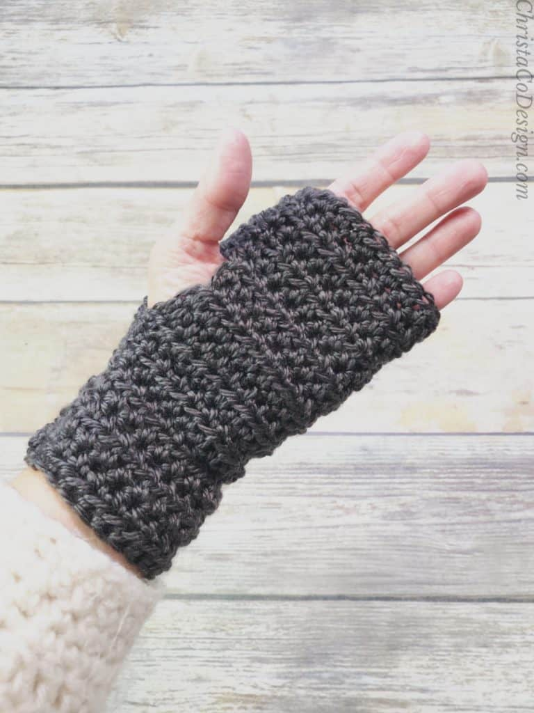 picture of women's fingerless gloves on hand palm side