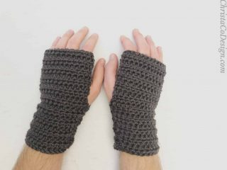 picture of mens fingerless crochet gloves in black