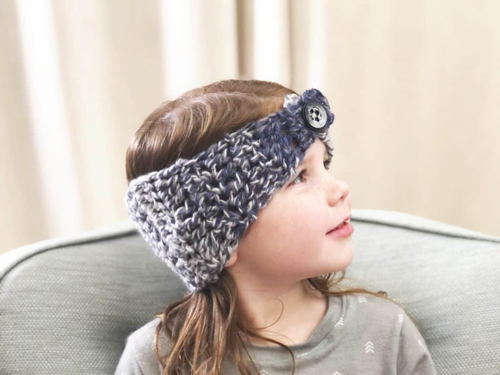 picture of side view buttoned ear warmer crochet pattern