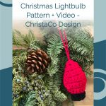 picture of red crochet christmas lightbulb pattern with text