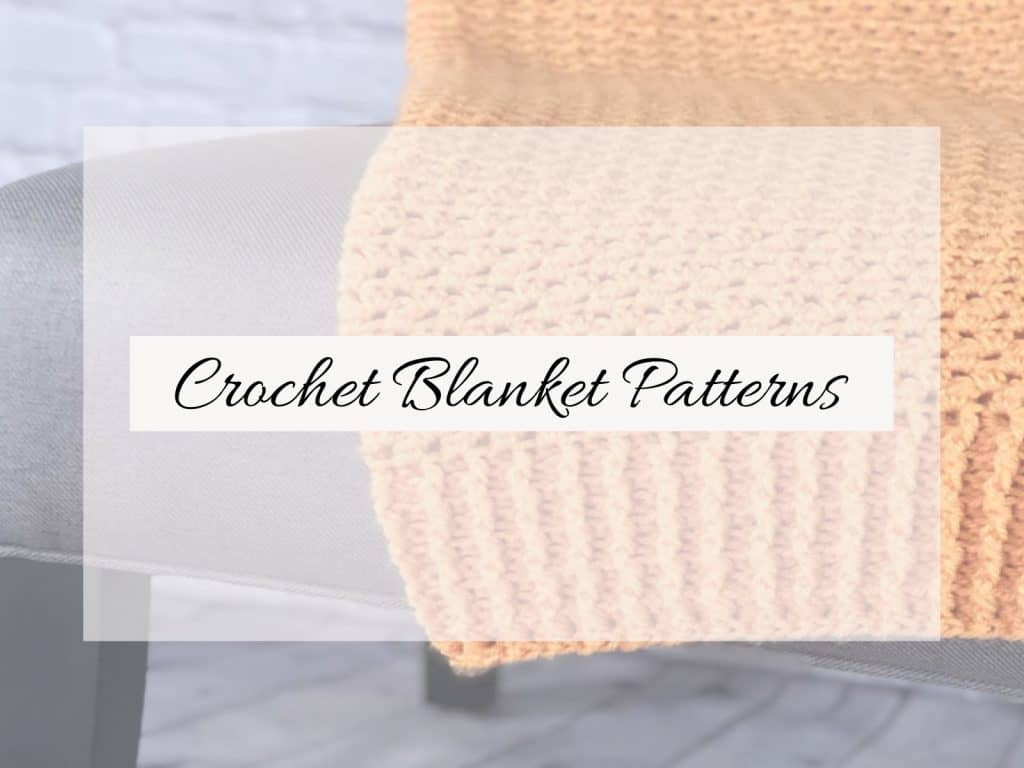 picture of orange crochet blanket on chair text crochet blanket patterns