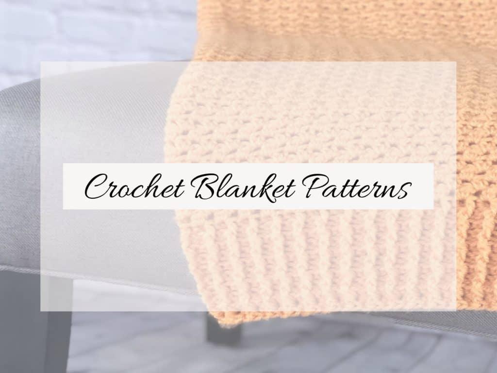 Orange crochet blanket on chair text crochet blanket patterns.