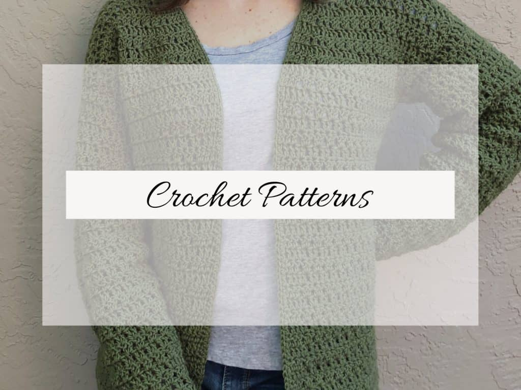 picture of green crochet cardigan with text crochet patterns