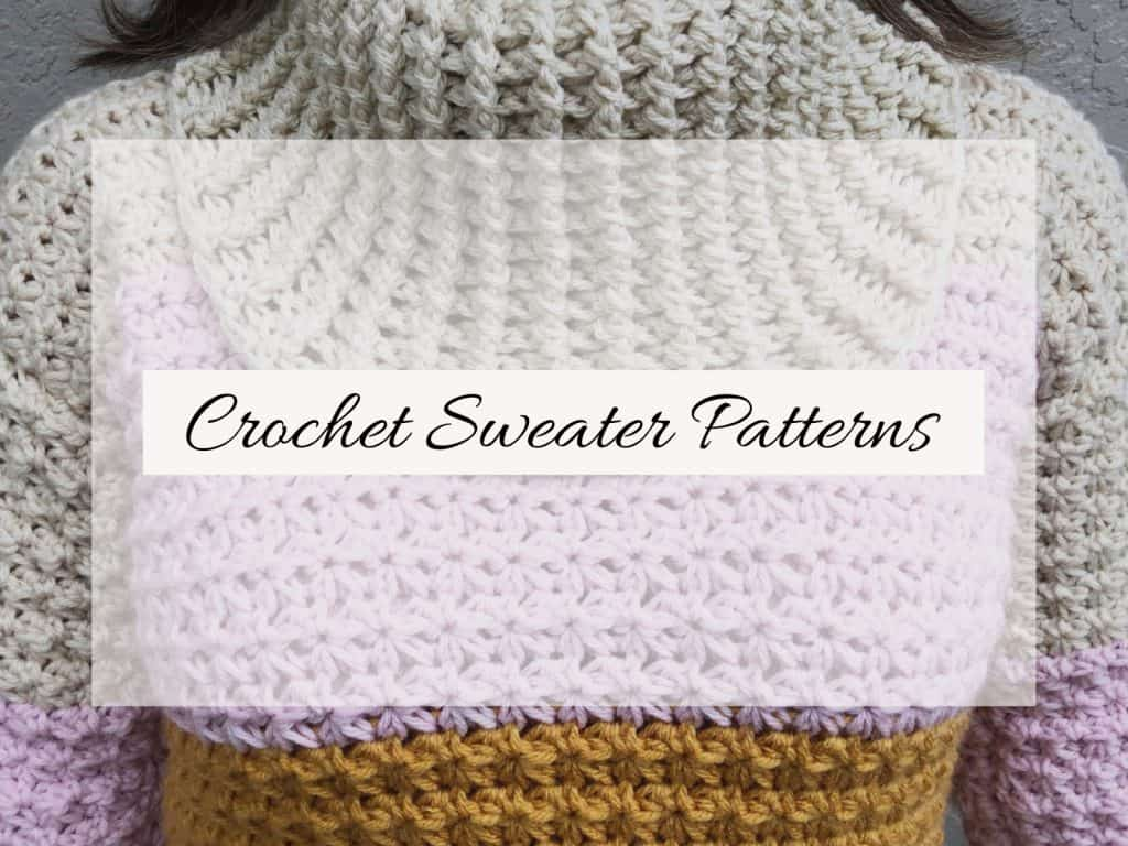 picture of pink beige cowl neck crochet sweater with text crochet sweater patterns
