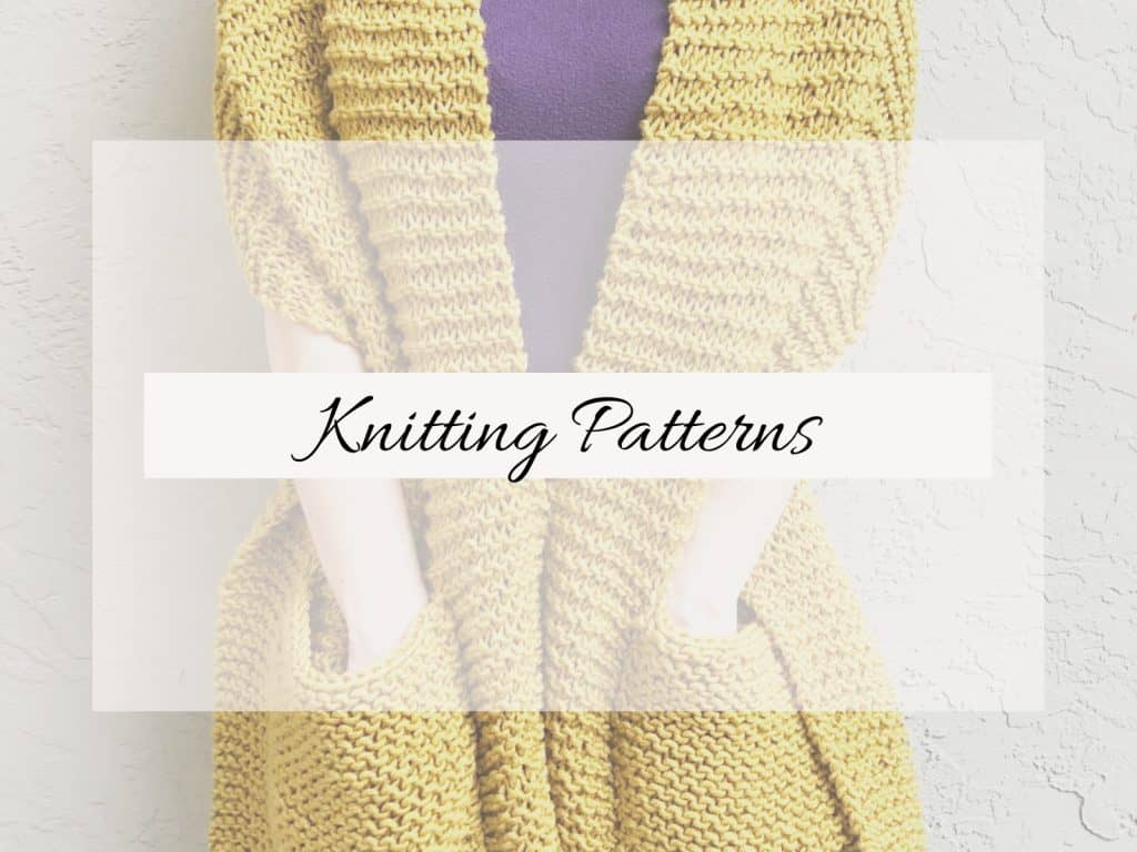 picture of knit pocket shawl with knitting patterns text