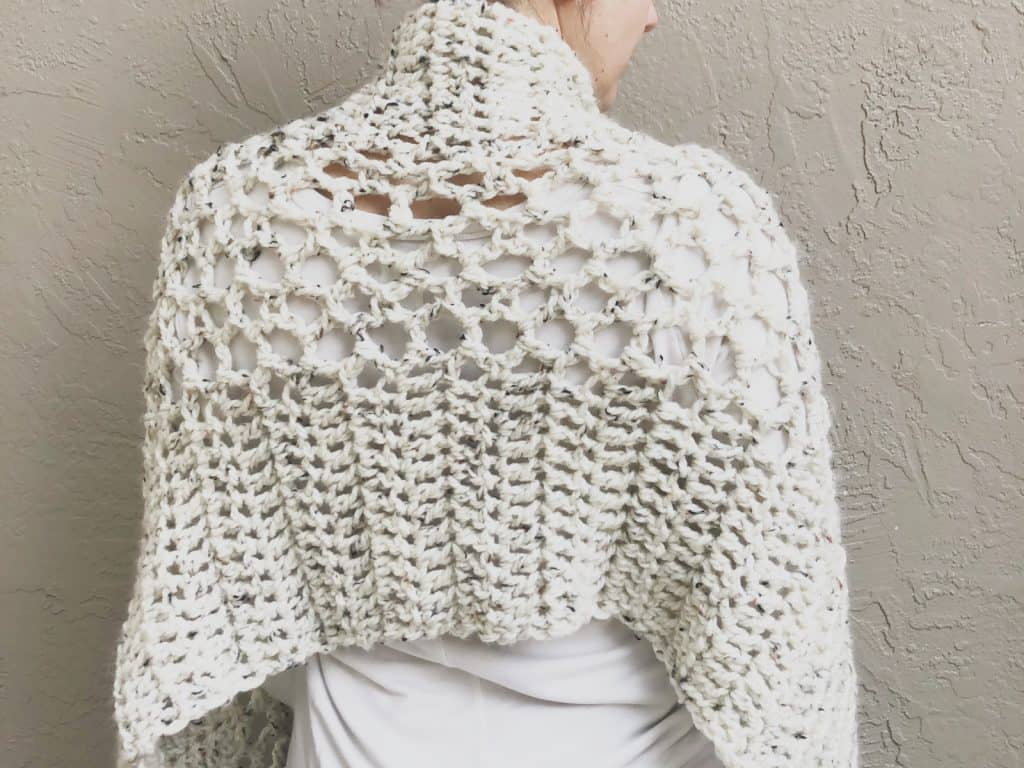 picture of crochet shawl pattern back in cream