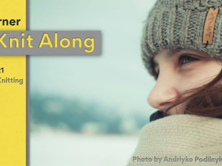 picture of hat knit along with text and image of woman in grey