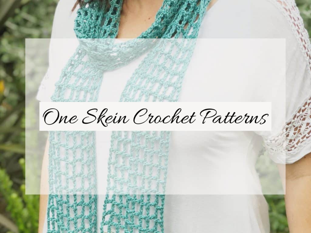 Picture with text one skein crochet patterns.