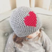 picture of crochet heart beanie red and grey